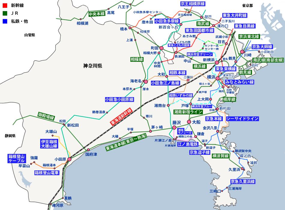 神奈川県の路線図