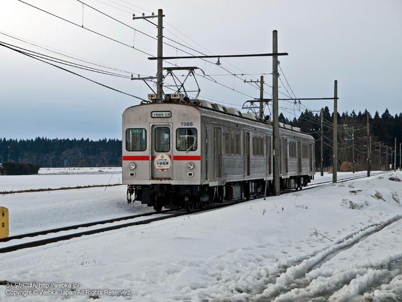 十和田観光電鉄線のモハ7305電車