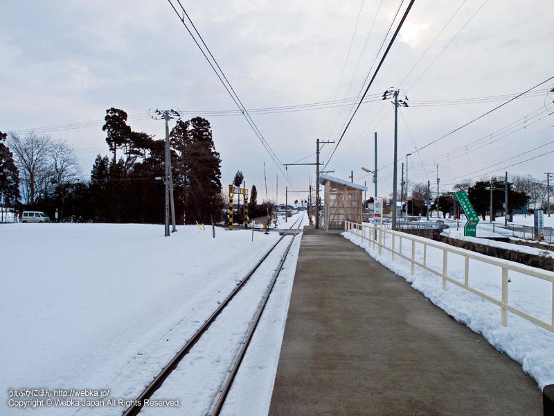 十和田観光電鉄線の柳沢駅(やなぎさわえき)のホーム