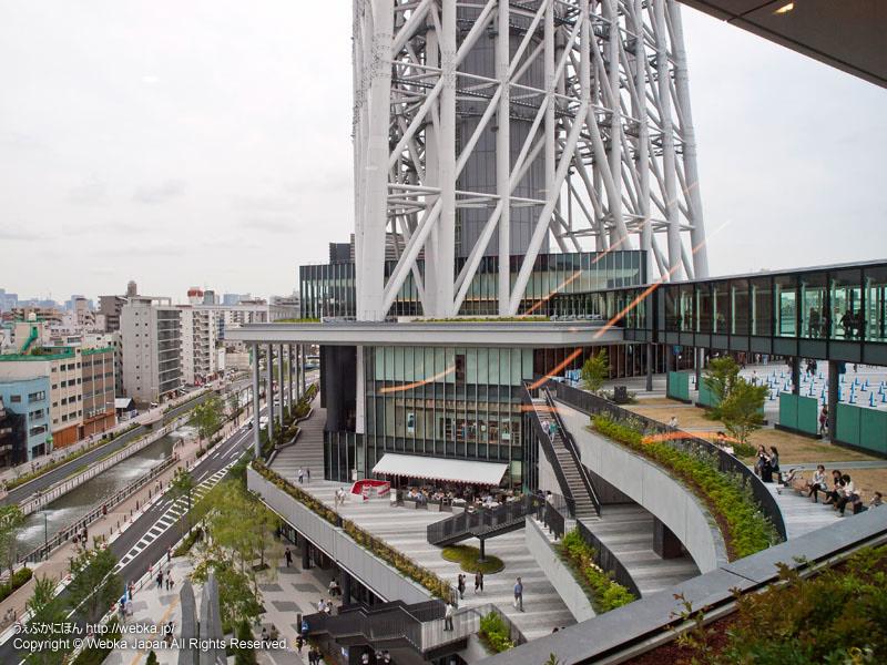 イーストヤードからの眺め、1階のソラマチひろばと4階のスカイアリーナは階段でつながっている