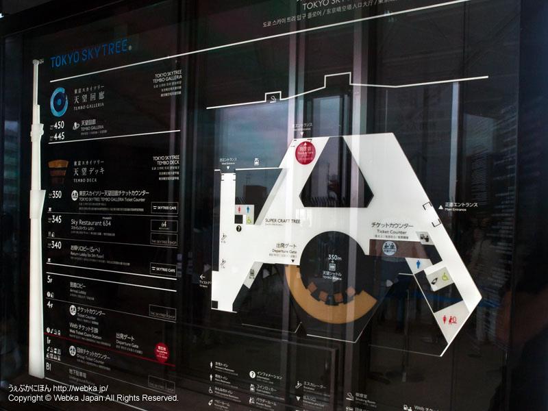 東京スカイツリー入口フロアの案内板