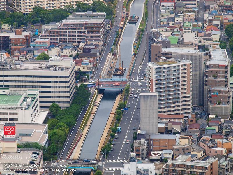 東京スカイツリー展望デッキフロア350から見た福神橋・亀戸あたり