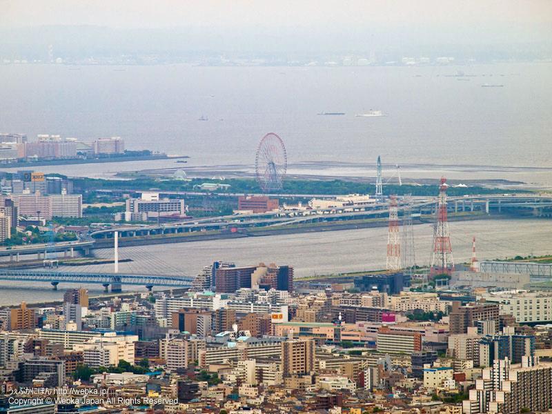 東京スカイツリー展望デッキフロア350から見た葛西臨海公園方面