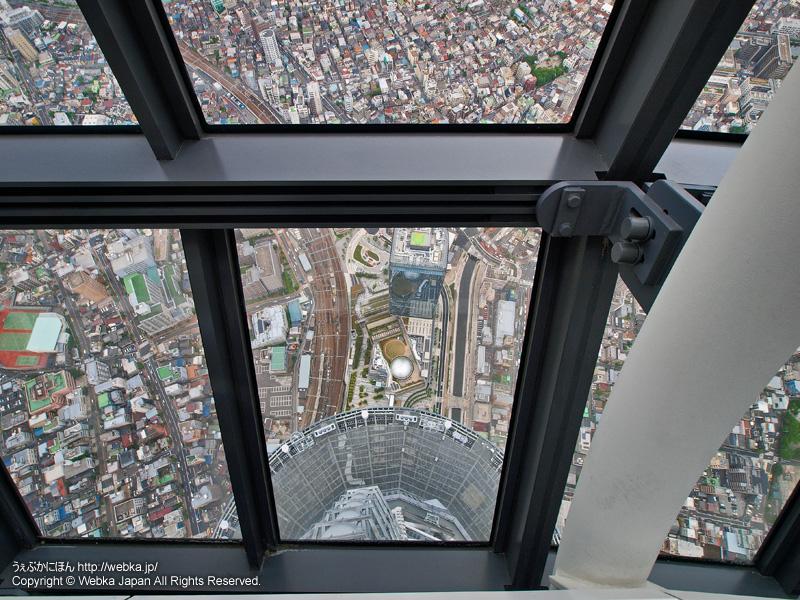 東京スカイツリー展望回廊から真下のイーストヤードを望む