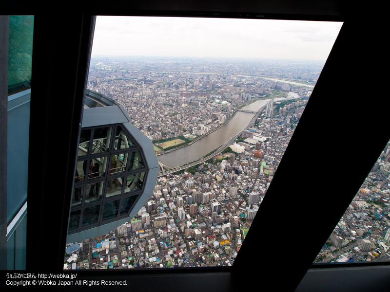 東京スカイツリー展望回廊終点からスタート地点を見下ろす