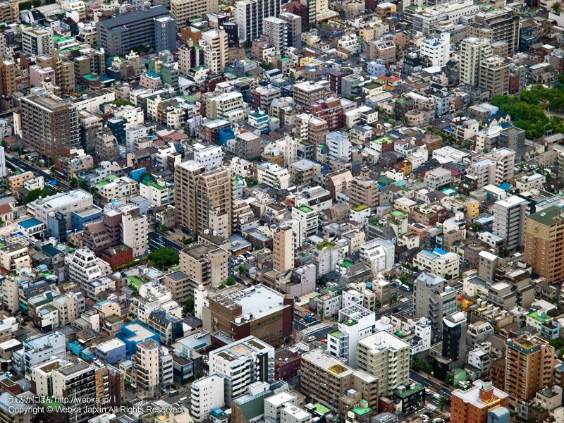 東京スカイツリー展望回廊から見た東京の街並み