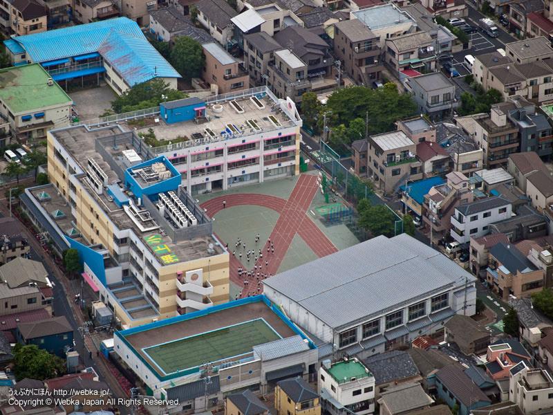 東京スカイツリー展望回廊から見た押上小学校