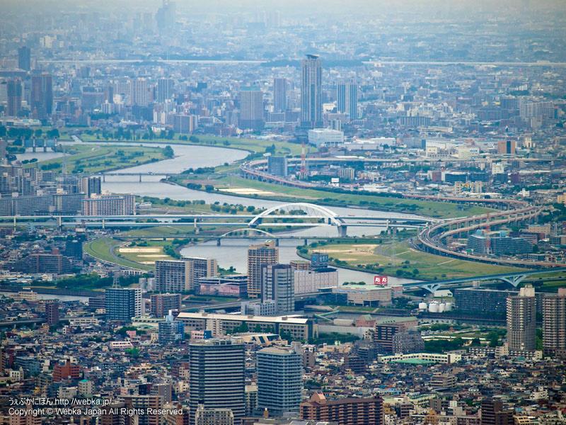 東京スカイツリー展望回廊から見た熊野前・隅田川・荒川・足立区方面