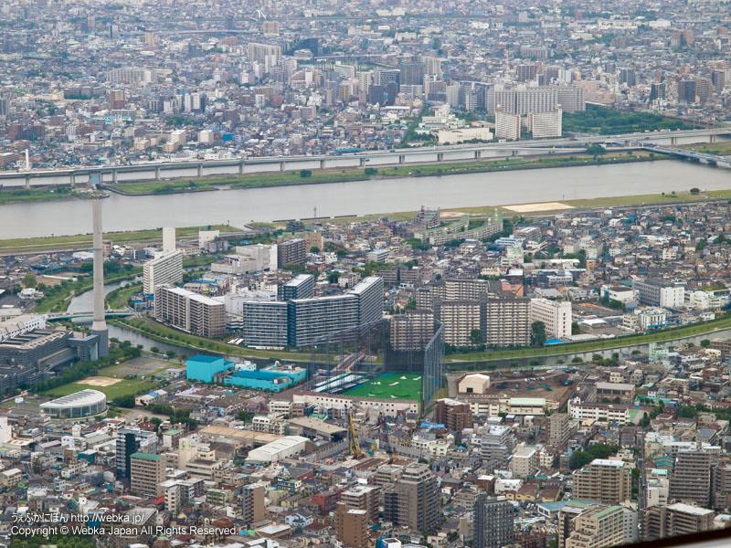 東京スカイツリー展望回廊から見た旧中川・隅田川・中川