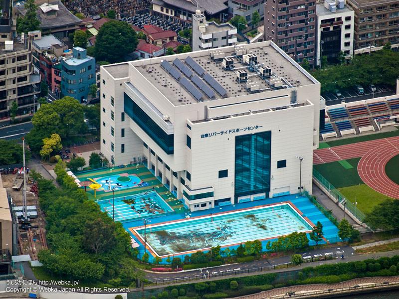 東京スカイツリー展望回廊から見た台東リバーサイドスポーツセンター