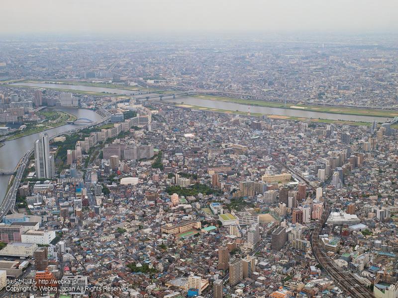 東京スカイツリー展望回廊から見た隅田川と荒川