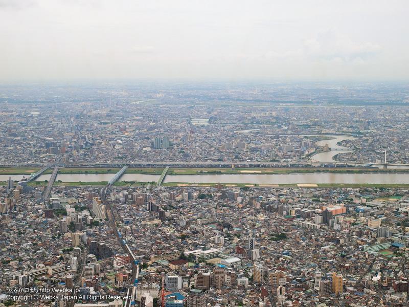 東京スカイツリー展望回廊から見た荒川・四つ木方面