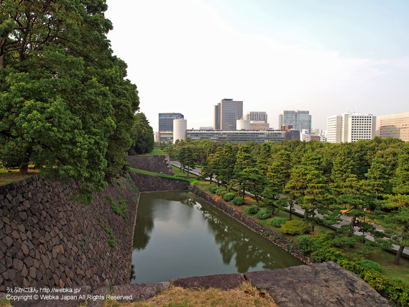 皇居東御苑 展望台から白鳥濠を望む